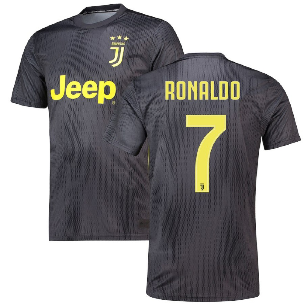 Majestic Athletic Men's Cristiano Ronaldo #7 Juventus 201819 Jersey-Black