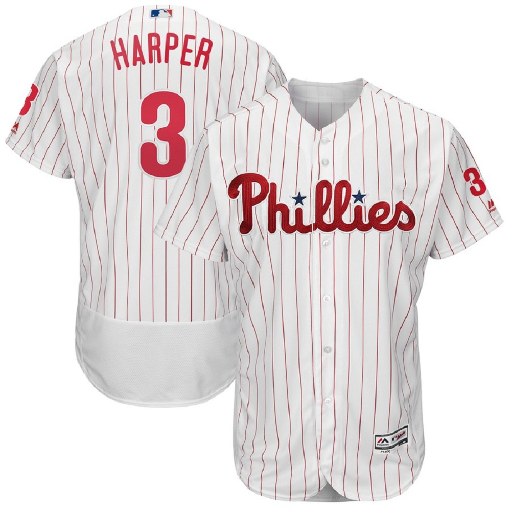 Majestic Athletic Bryce Harper Philadelphia Phillies #3 Men's White Home Flex base Player Jersey