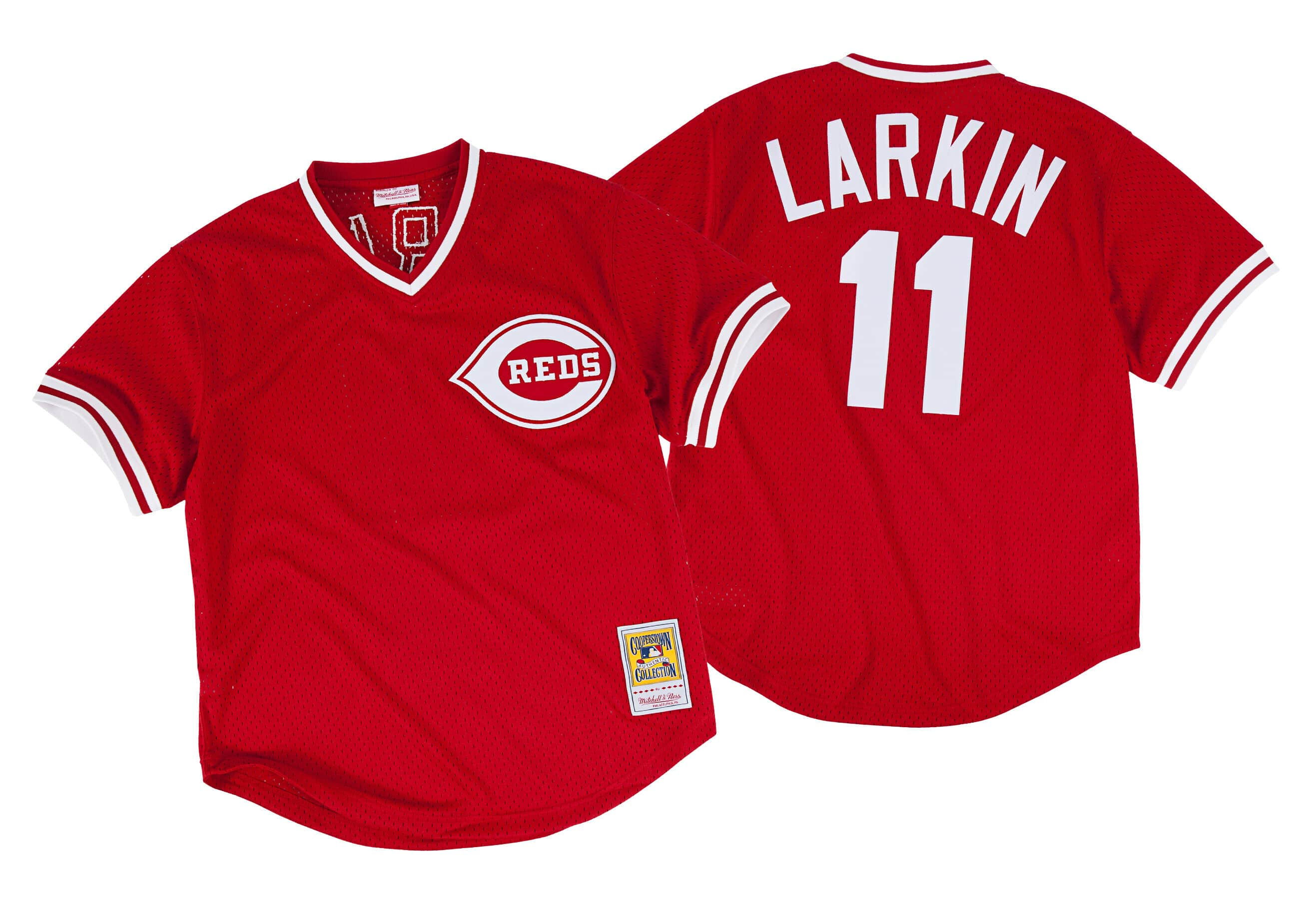 Barry Larkin 1990 Authentic Mesh BP Jersey Cincinnati Reds