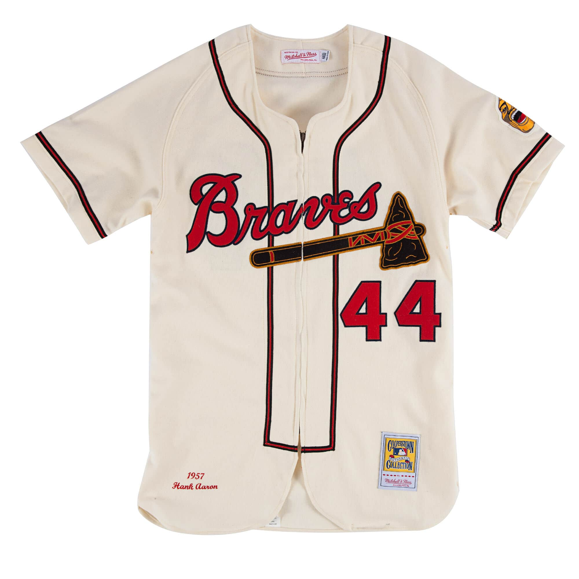 Hank Aaron 1957 Authentic Jersey Milwaukee Braves