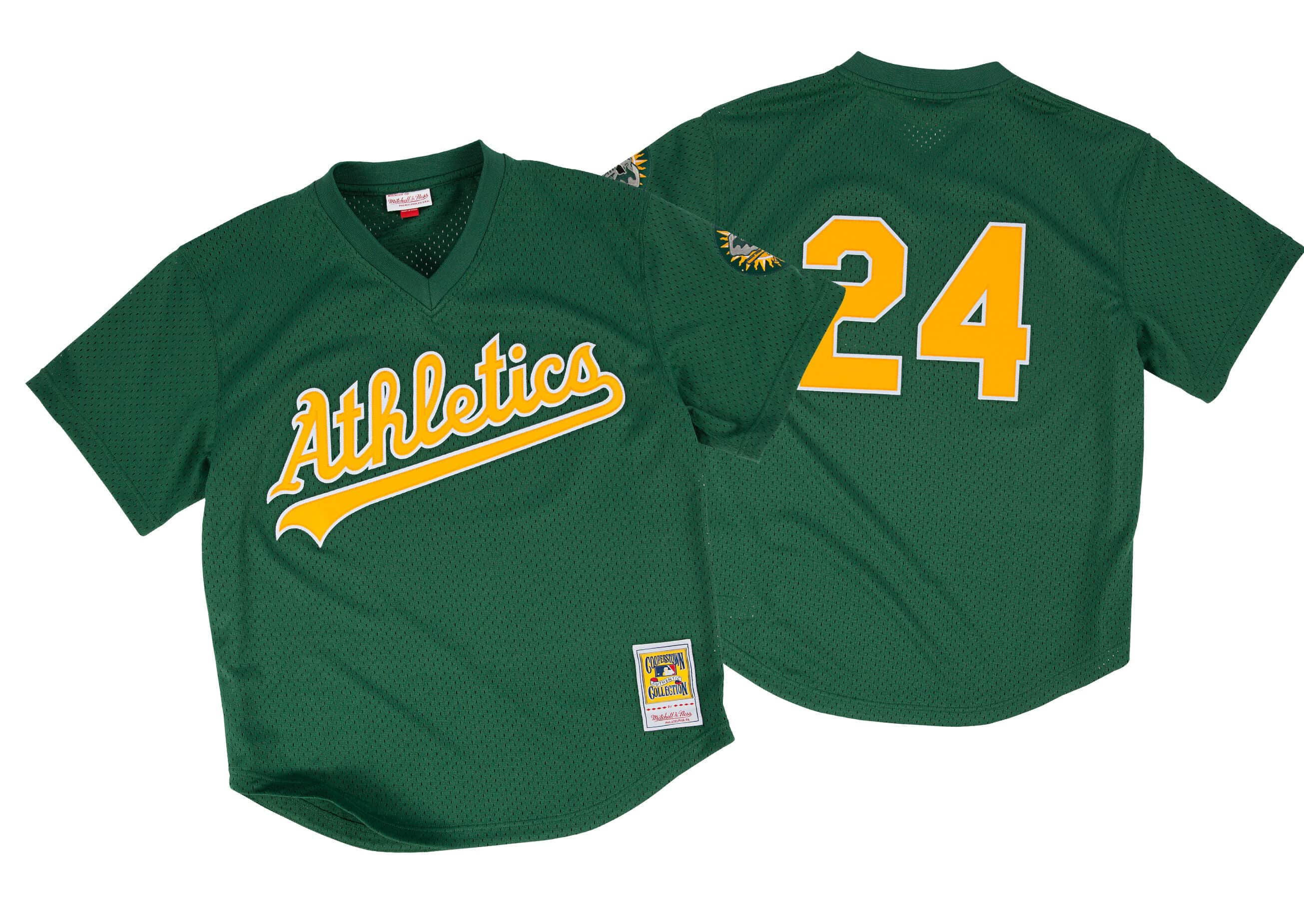 Rickey Henderson 1998 Authentic Mesh BP Jersey Oakland Athletics