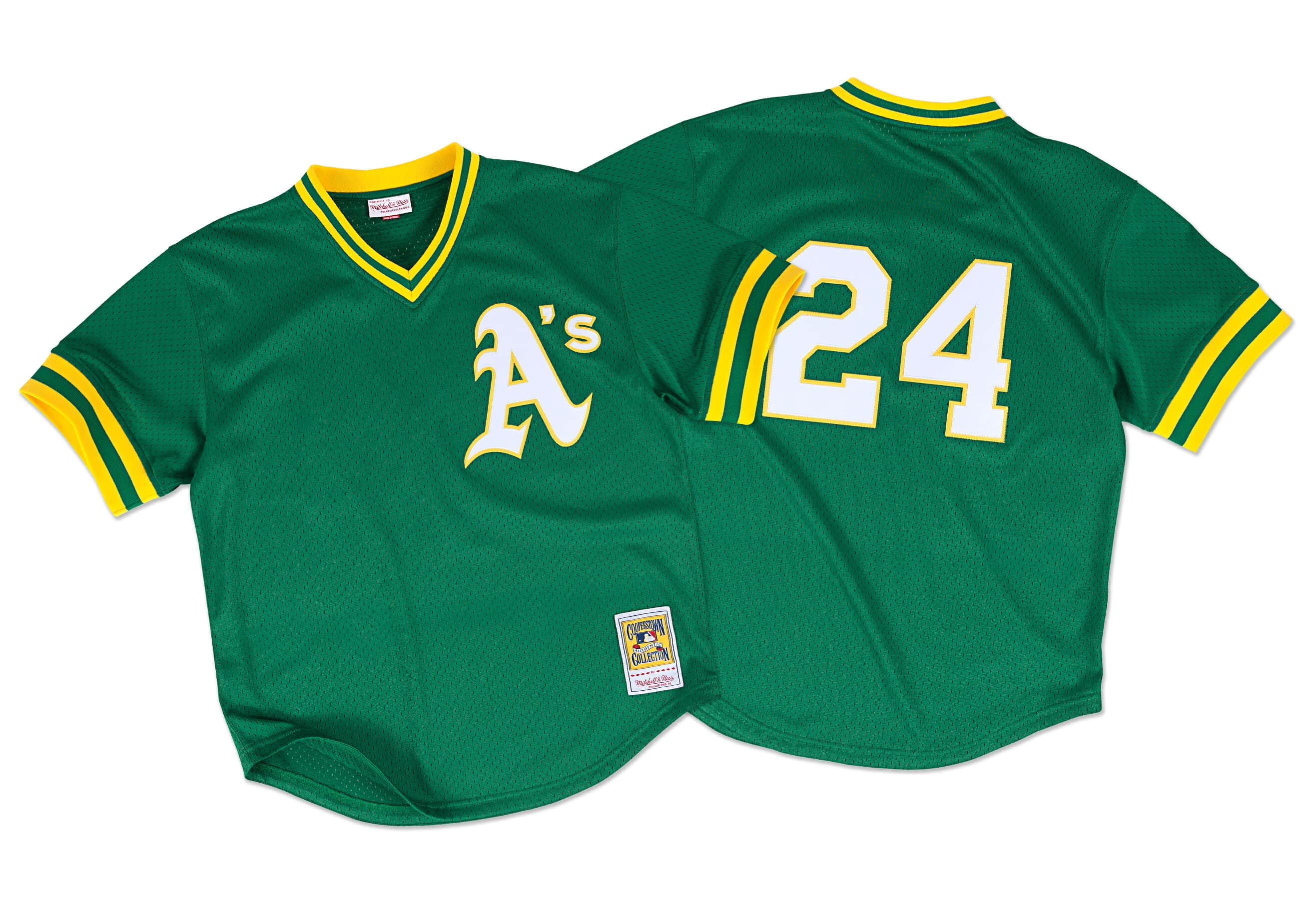 Rickey Henderson 1991 Authentic Mesh BP Jersey Oakland Athletics