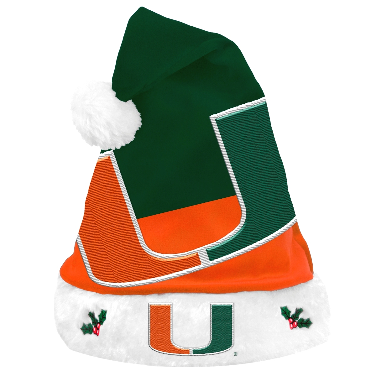 Miami Hurricanes 2018 NCAA Basic Logo Plush Christmas Santa Hat