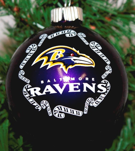 Baltimore Ravens NFL Traditional Round Glass Ornament