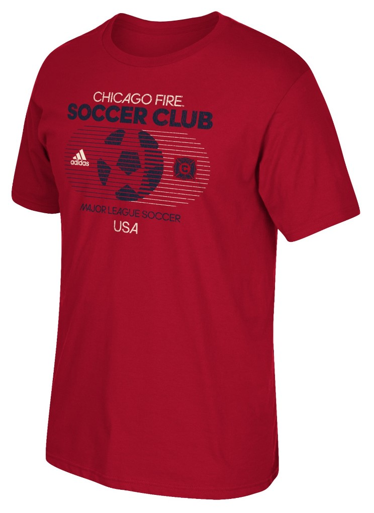 "Chicago Fire Adidas MLS ""Soccer World"" Tri-Blend Men's Short Sleeve T-Shirt"