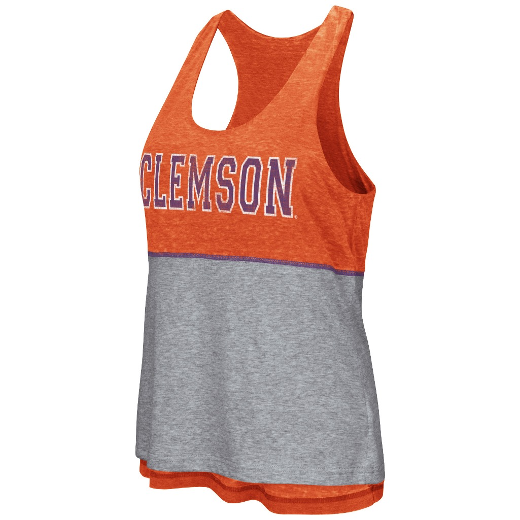 "Clemson Tigers Women's NCAA ""Red Ross"" Reversible Burn Out Tank Top"