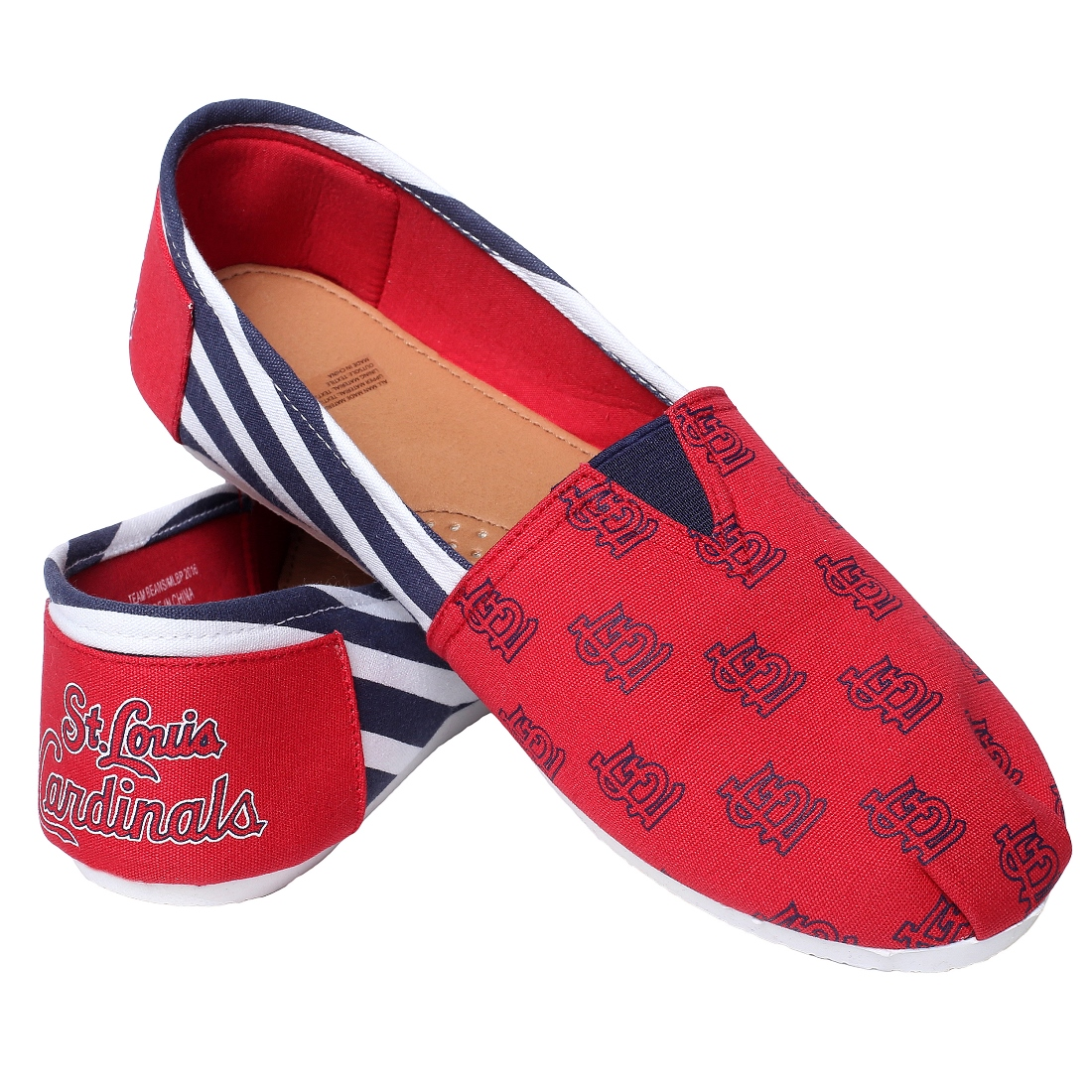 St. Louis Cardinals Women's MLB Slip On Canvas Stripe Shoe Slippers