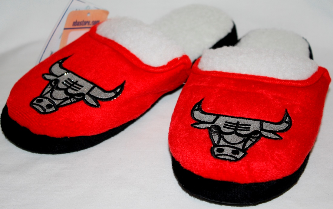 Chicago Bulls 2012 Womens Team Color Sherpa Glitter Slippers
