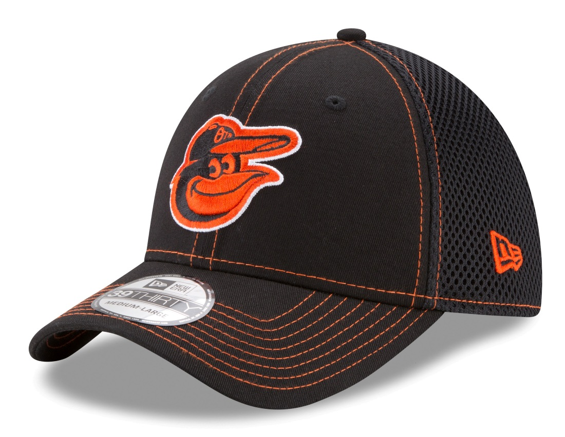 "Baltimore Orioles New Era MLB 39THIRTY ""Shock Stitch Neo"" Black Flex Fit Hat"