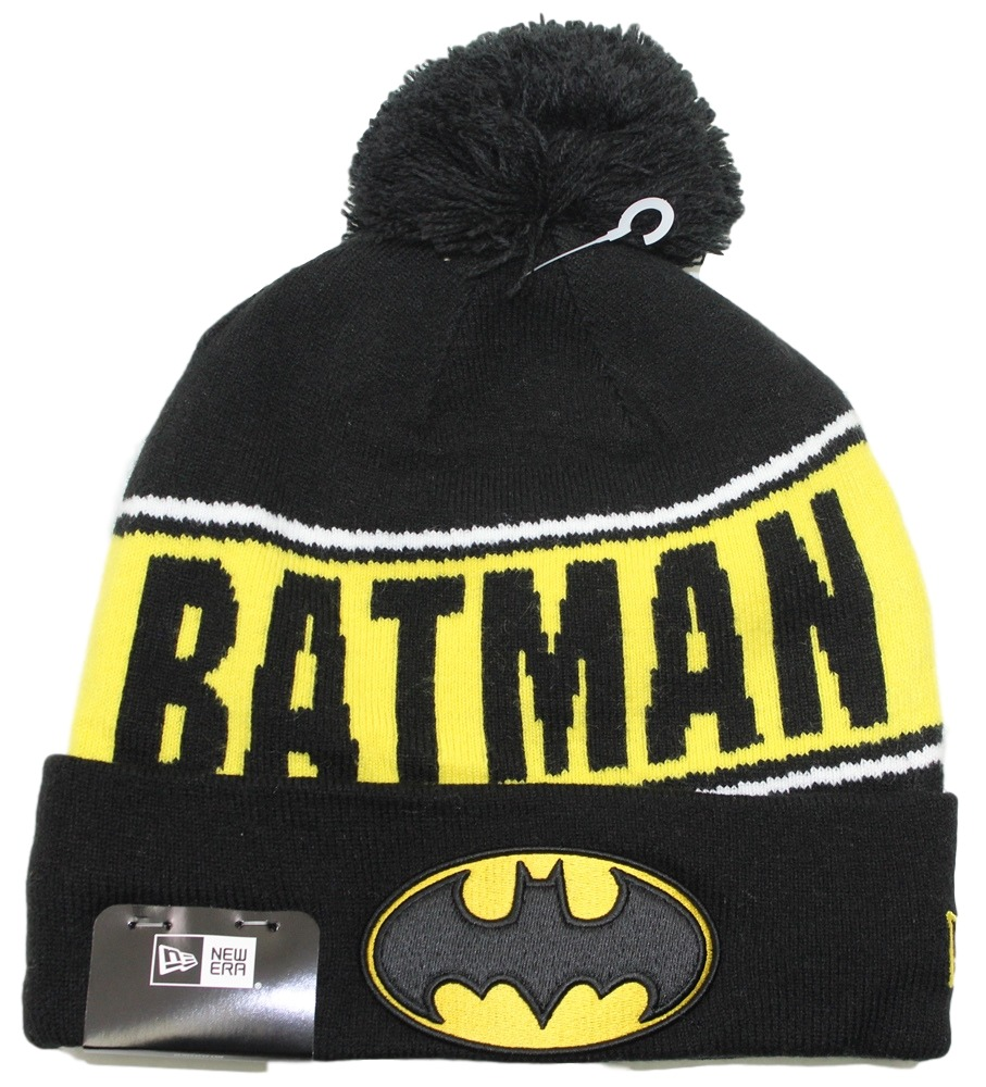"Batman DC Comics New Era ""Team Chant"" Cuffed Knit Hat with Pom"