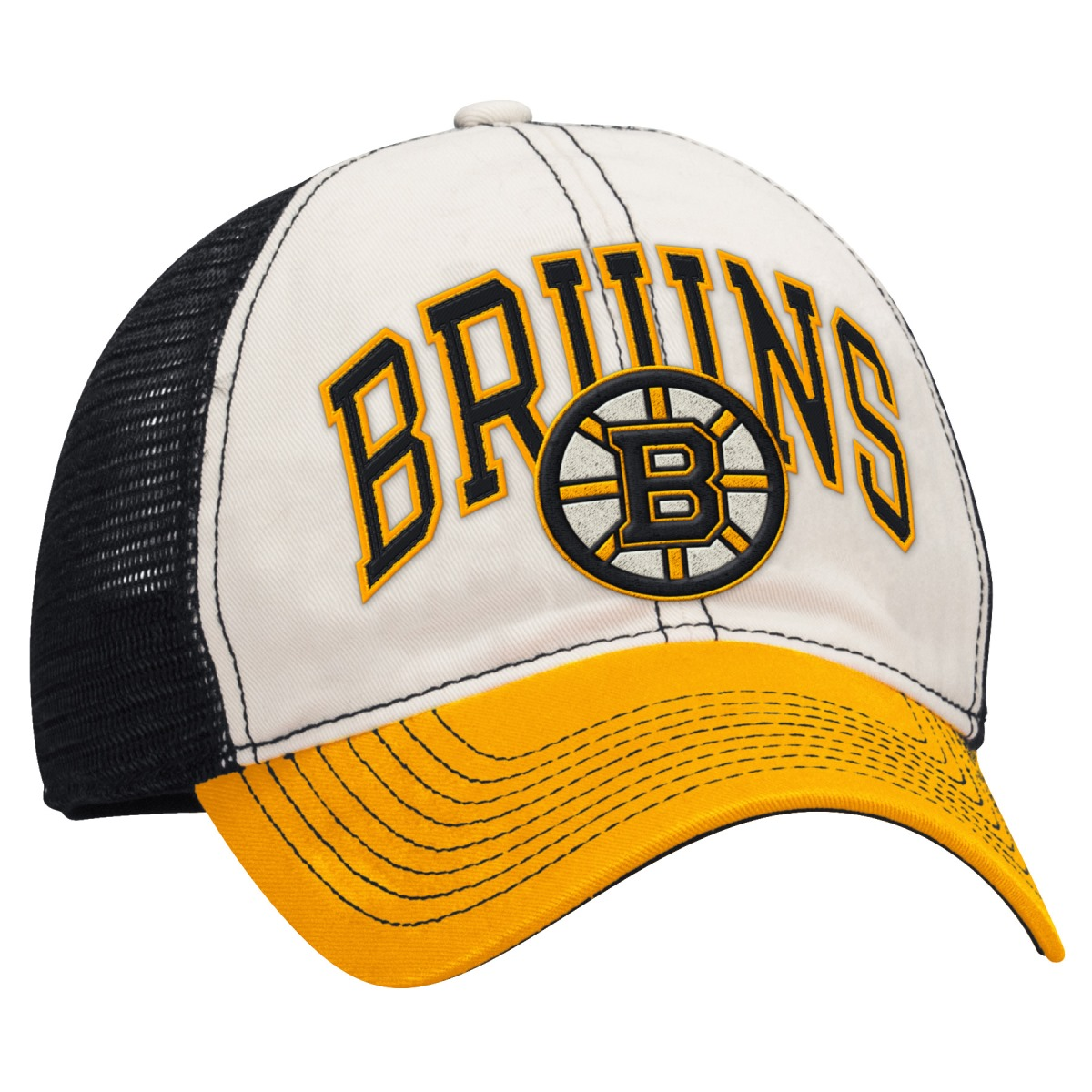 "Boston Bruins Reebok NHL ""Face-Off"" Slouch Flex Fitted Mesh Back Hat"