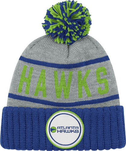 "Atlanta Hawks Mitchell & Ness NBA ""The High 5"" Vintage Cuffed Premium Knit Hat w/ Pom"