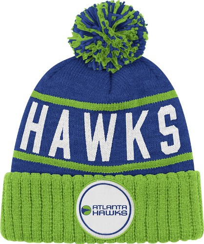 Atlanta Hawks Mitchell & Ness NBA High 5 Cuffed Premium Pom Knit Hat - Blue