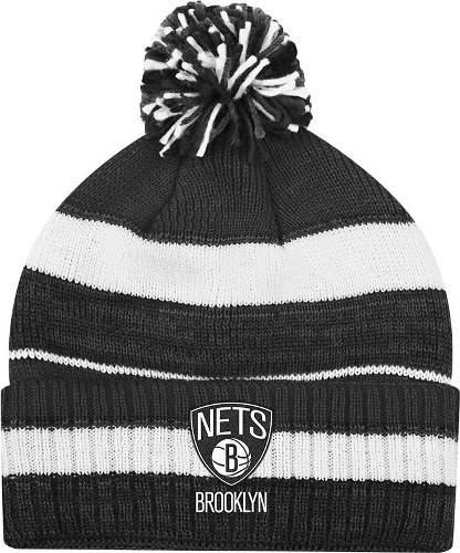 Brooklyn Nets Adidas NBA Striped Multi Color Pom Cuffed Knit Hat