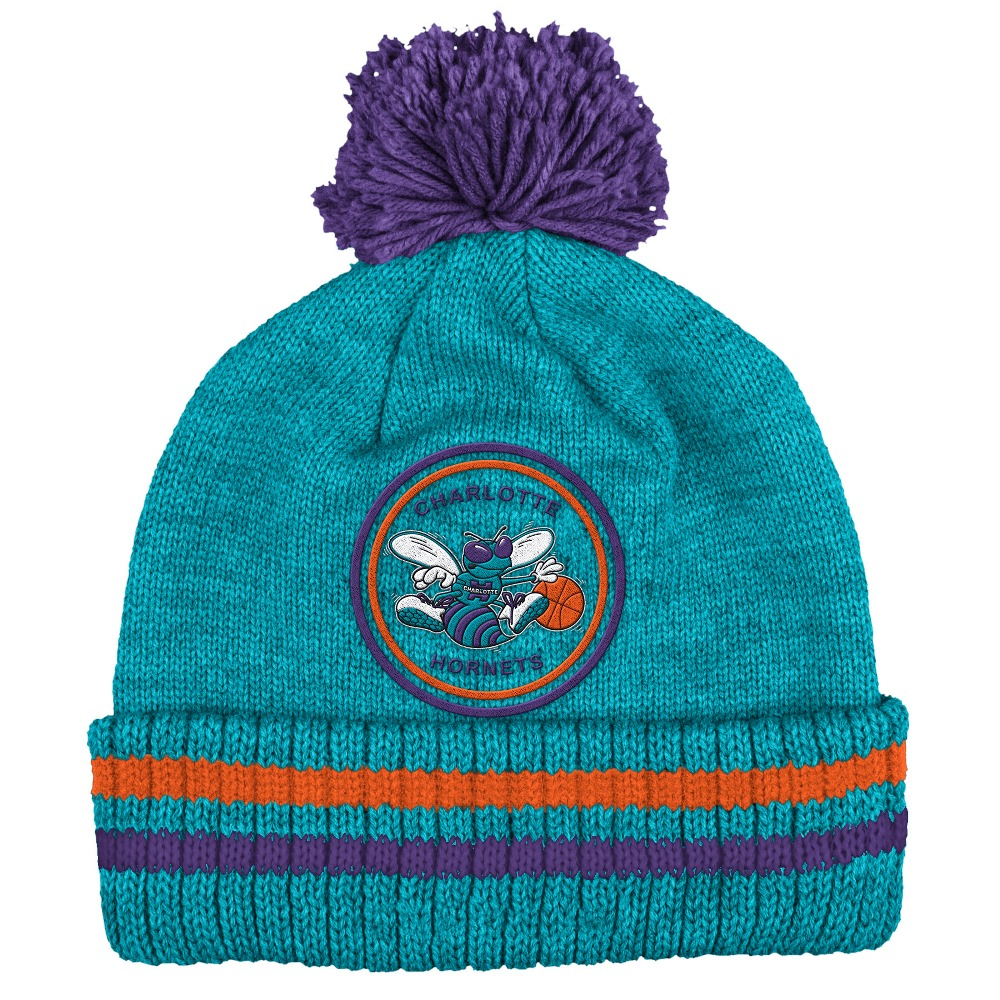 "Charlotte Hornets Mitchell & Ness NBA ""Big Man"" Cuffed Premium Pom Knit Hat"