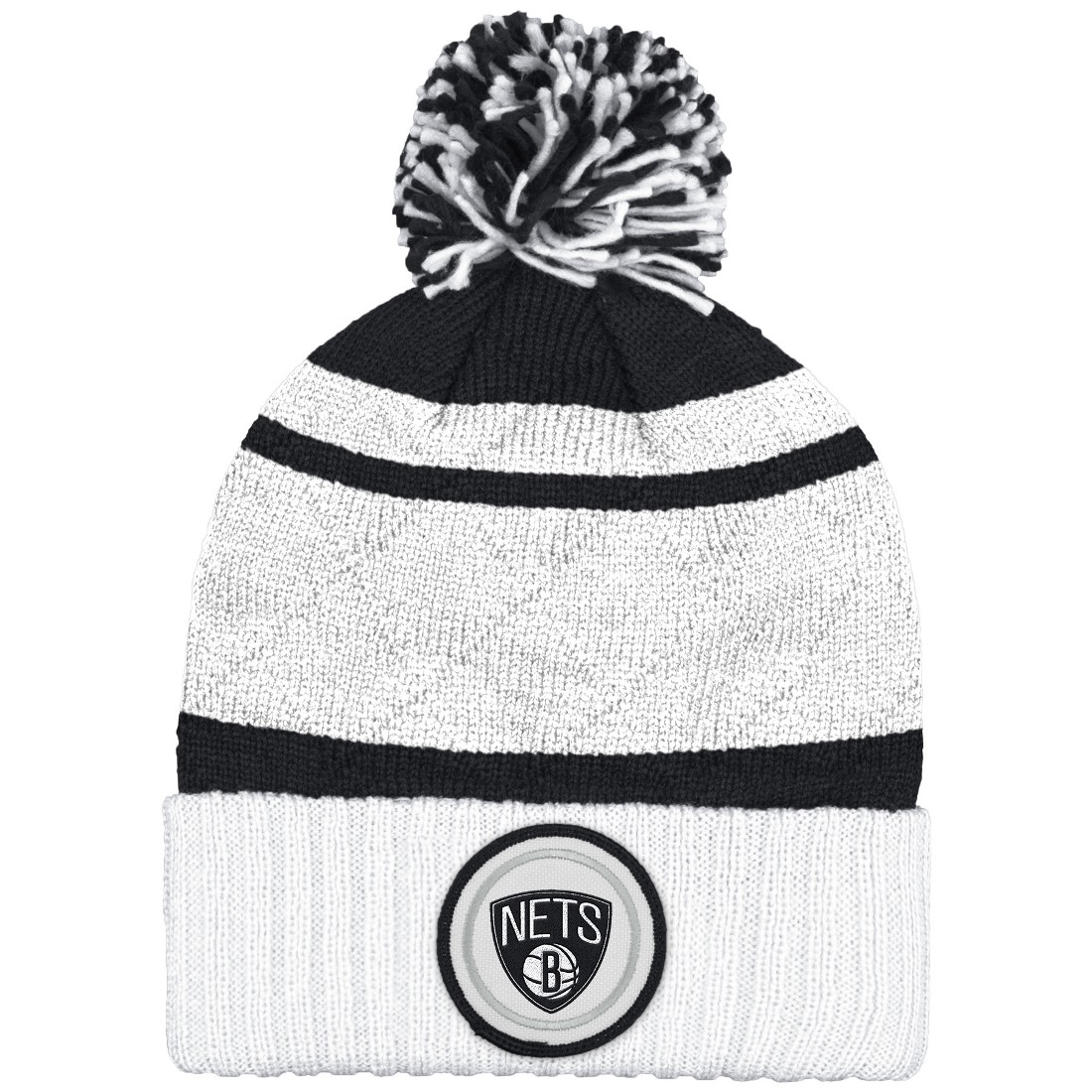 "Brooklyn Nets Mitchell & Ness NBA ""Quilted Crown"" Cuffed Knit Hat w/Pom"