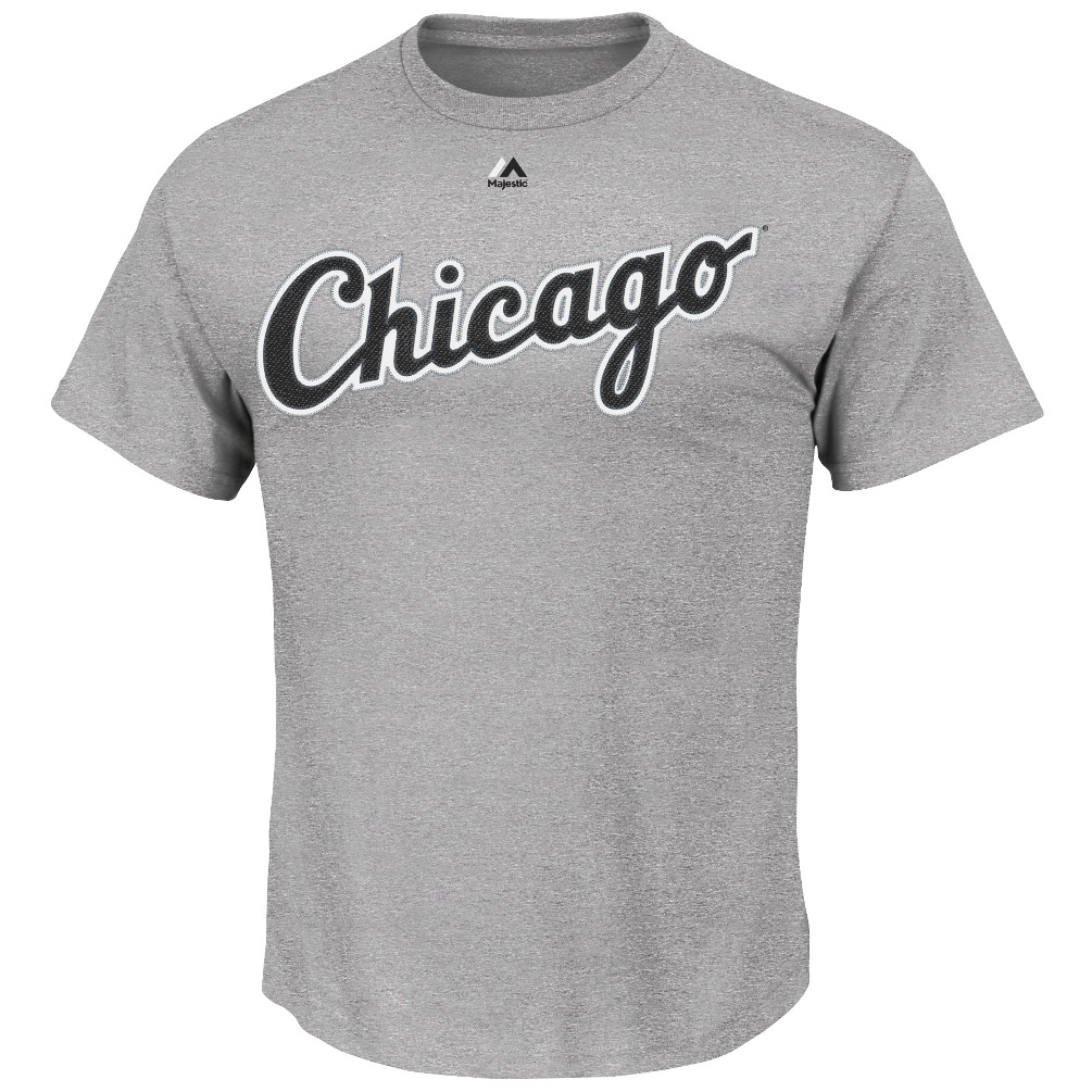 Chicago White Sox Majestic MLB Wordmark T-Shirt - Gray