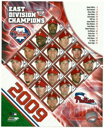 Philadelphia Phillies 2009 East Division Champions Team Collage 8x10 Photo
