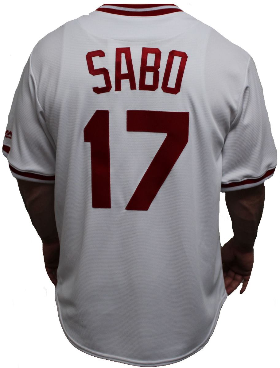 Chris Sabo Cincinnati Reds Majestic MLB Cooperstown Cool Base White Jersey