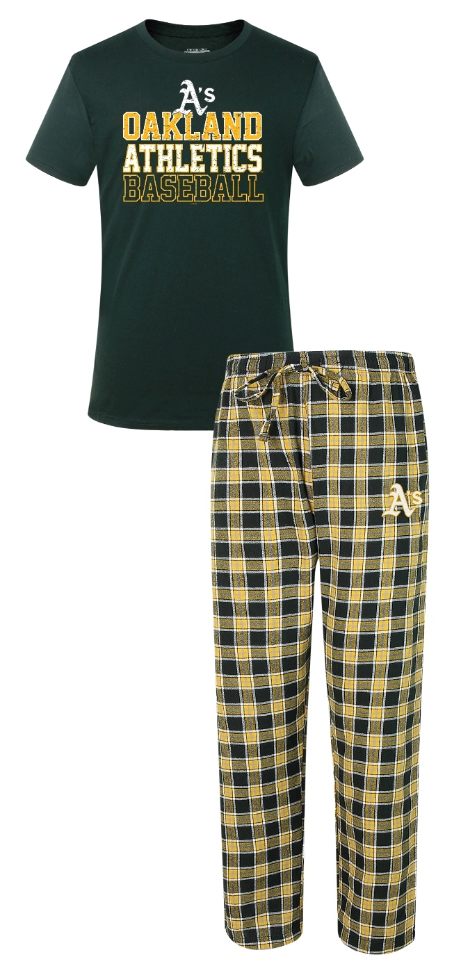 "Oakland Athletics MLB ""Medalist"" Men's T-shirt & Flannel Pajama Pants Sleep Set"
