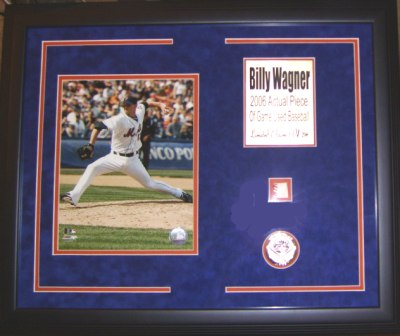 Billy Wagner Mets 8x10 Framed w/Game Used Baseball Piece