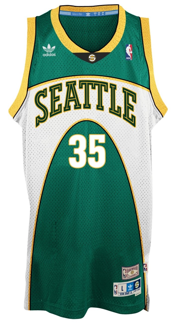 Kevin Durant Seattle Supersonics Adidas NBA Throwback Swingman Green Jersey