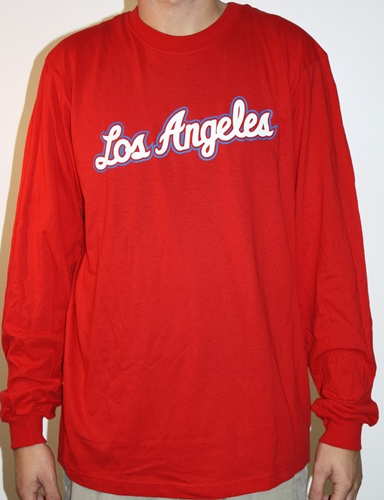 "Los Angeles Clippers Adidas NBA ""Dime"" Long Sleeve T-Shirt - Red"