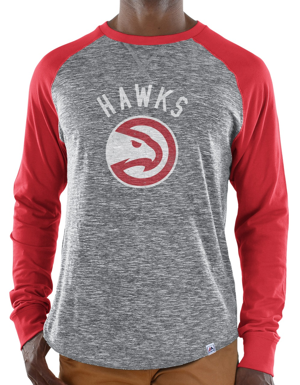 "Atlanta Hawks Majestic NBA ""Exposure"" Men's Long Sleeve Gray Slub Shirt"