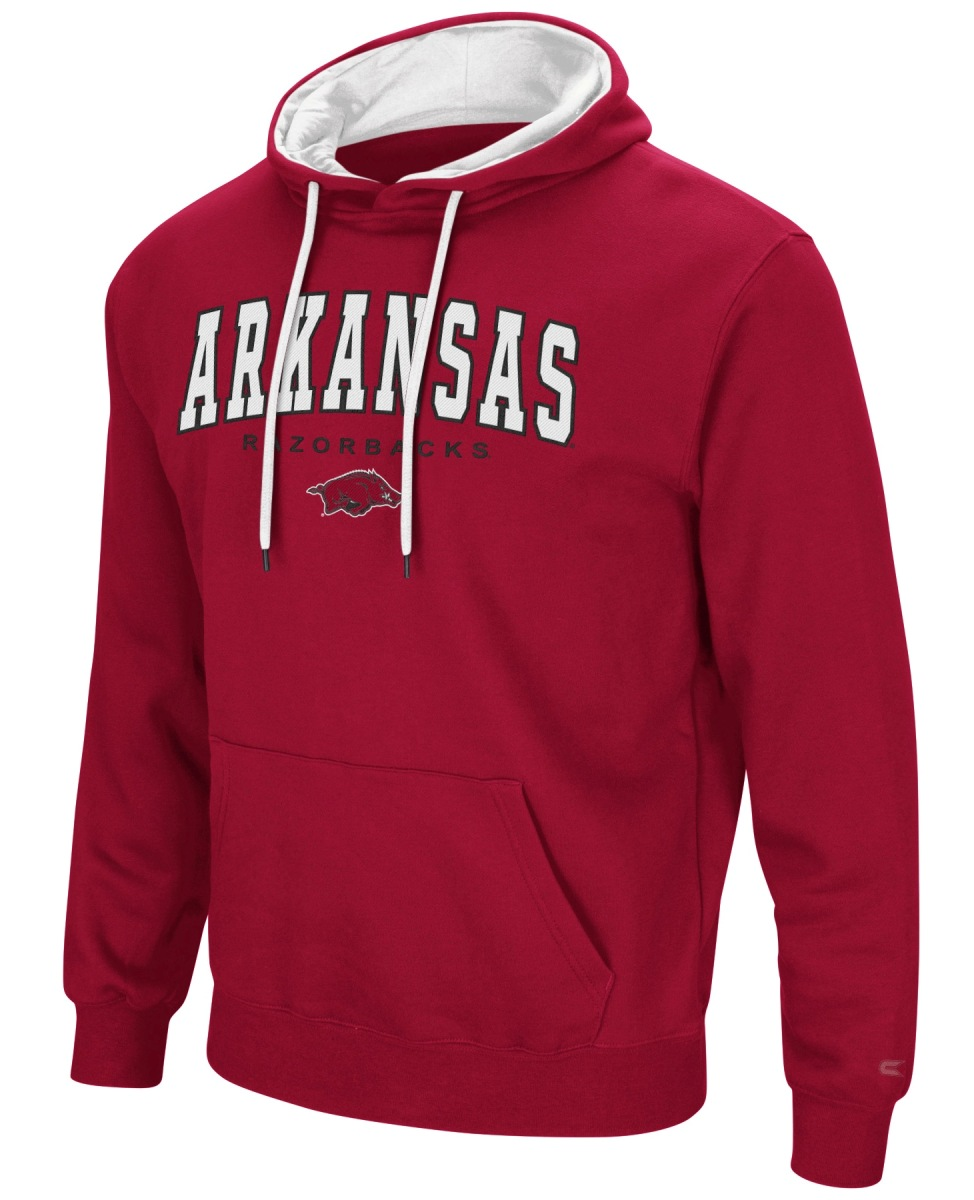 "Arkansas Razorbacks NCAA ""End Zone"" Pullover Hooded Men's Sweatshirt - Red"