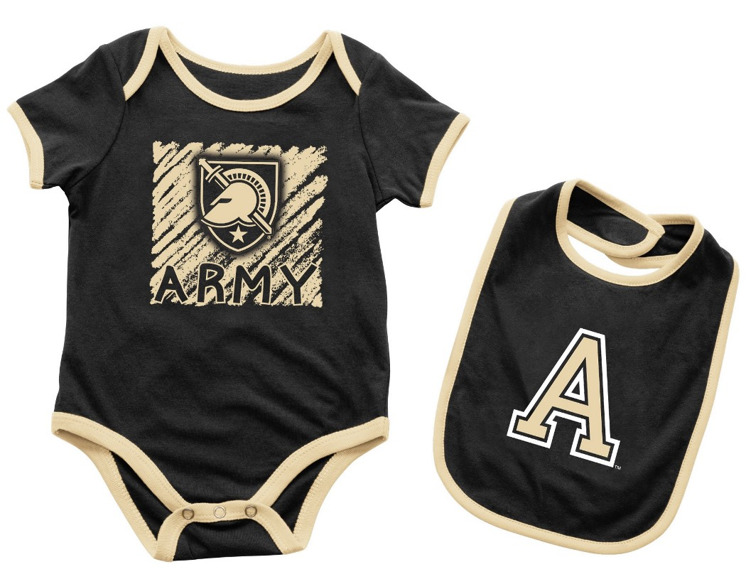 "Army Black Knights NCAA Infant ""Look at the Baby"" Onesie w/Bib Set"