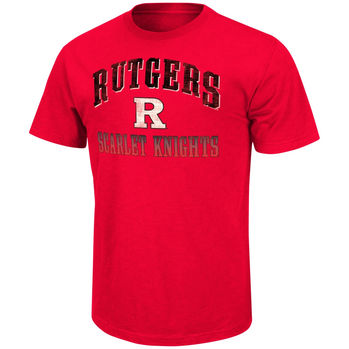 "Rutgers Scarlet Knights NCAA ""Contour"" Men's Short Sleeve Distressed T-Shirt"