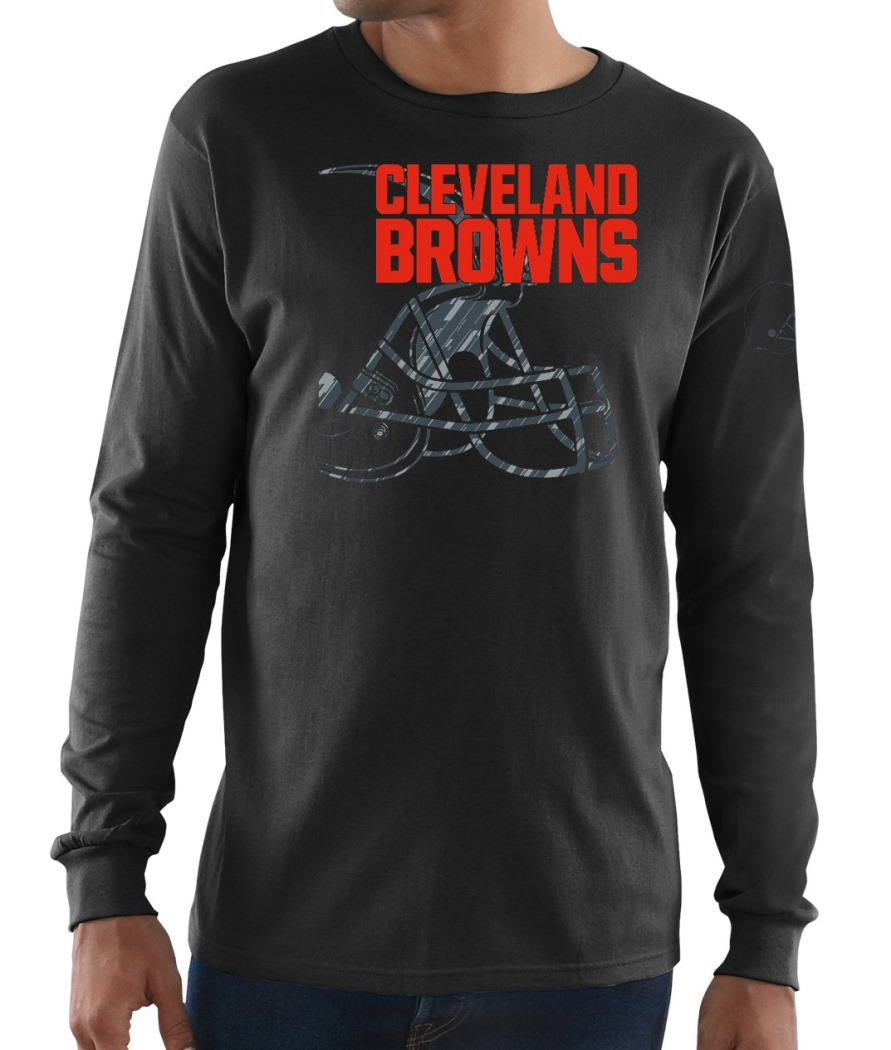 "Cleveland Browns Majestic NFL ""Elite Reflective"" Men's L/S Black T-Shirt"