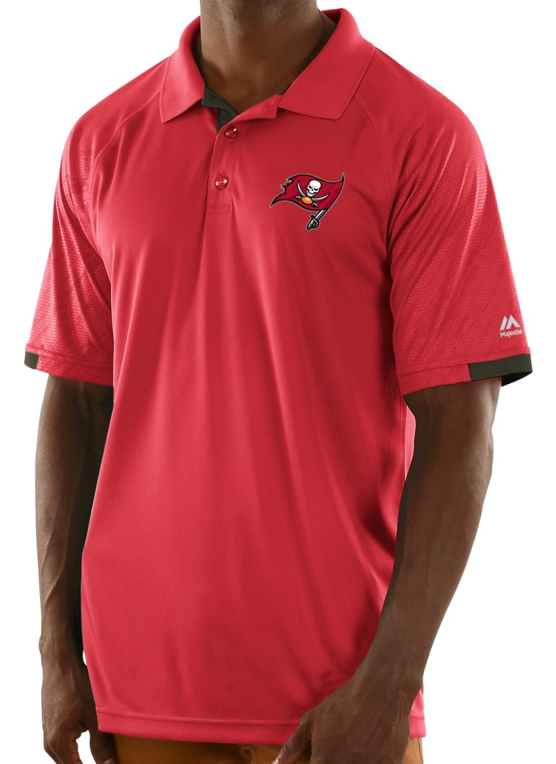 "Tampa Bay Buccaneers Majestic NFL ""Club Level"" Men's Short Sleeve Polo Shirt"