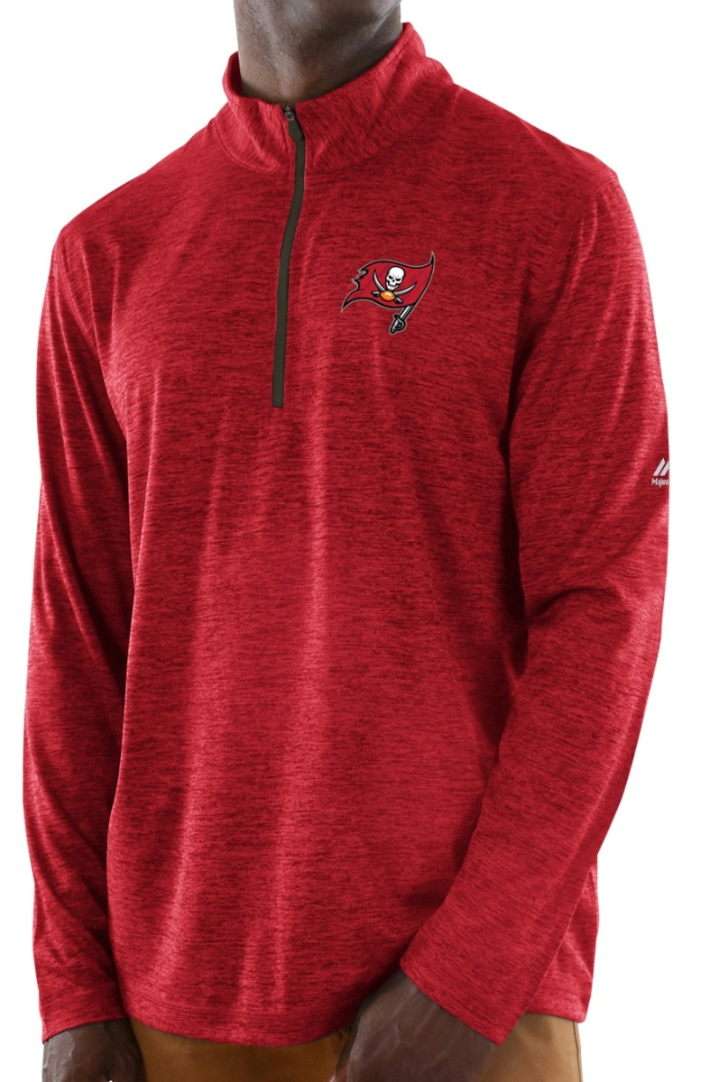"Tampa Bay Buccaneers Majestic NFL ""Play to Win"" 1/2 Zip Mock Neck Pullover Shirt"