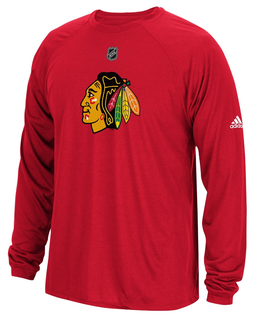 "Chicago Blackhawks Adidas NHL ""Primary Position"" Climalite Long Sleeve T-Shirt"