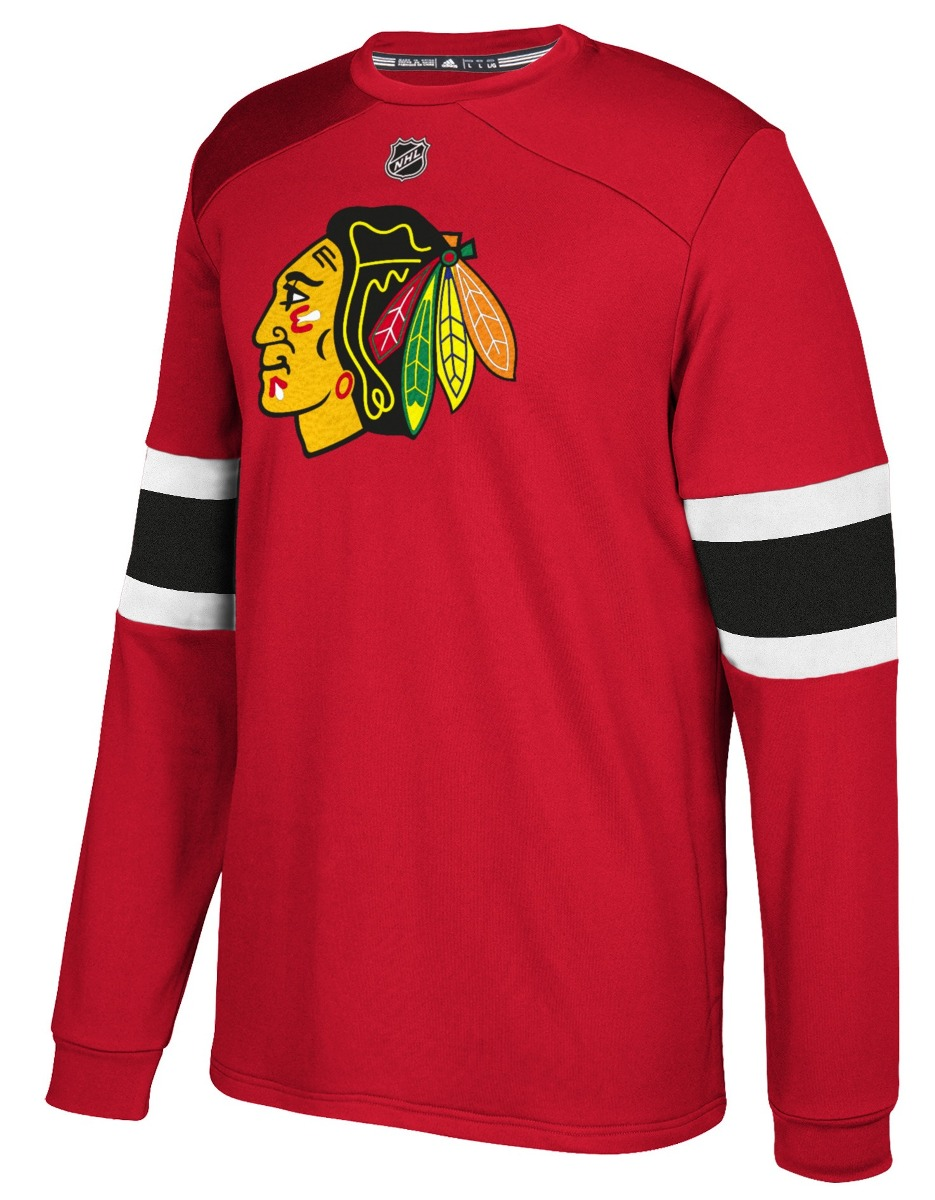 "Chicago Blackhawks Adidas NHL ""Platinum"" Men's Long Sleeve Jersey Shirt"