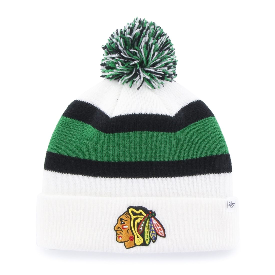 "Chicago Blackhawks 47 Brand NHL ""Breakaway"" Cuffed Knit Hat - Green"