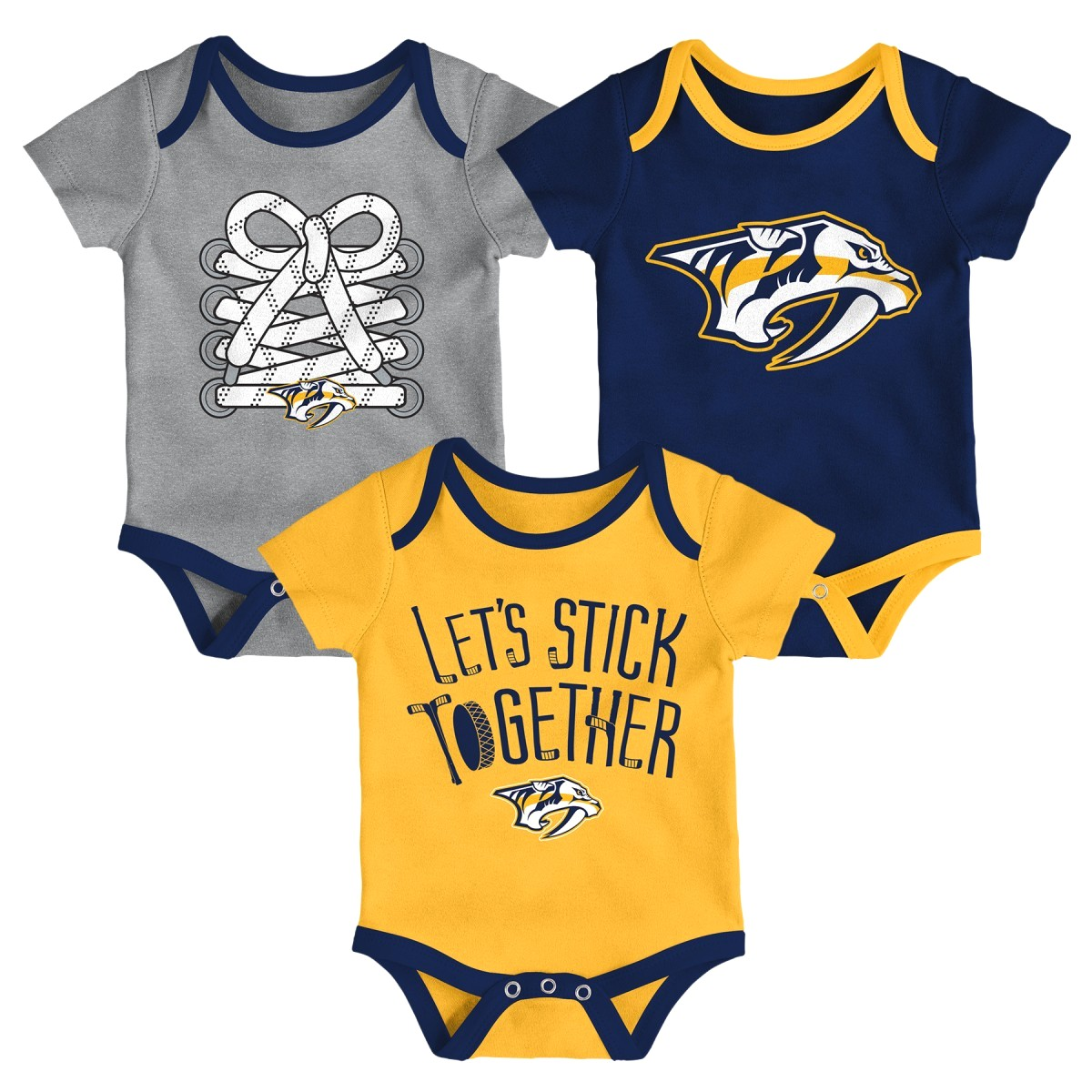 "Nashville Predators NHL ""Five on Three"" Infant 3 Pack Bodysuit Creeper Set"