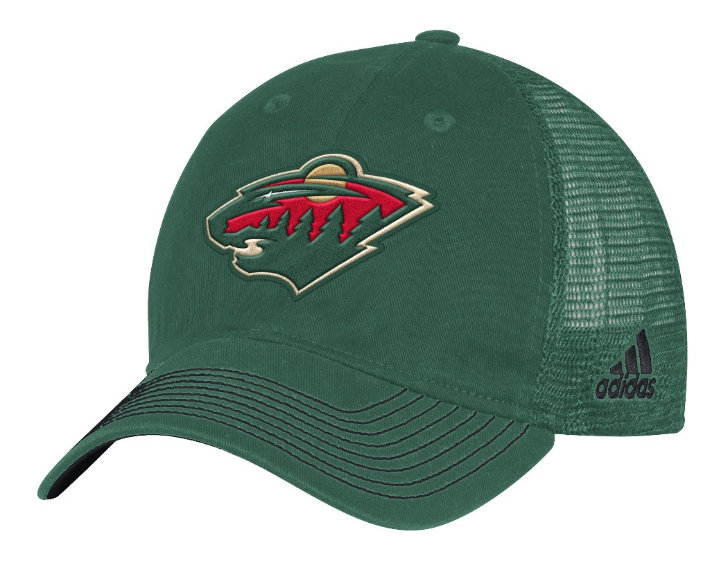 "Minnesota Wild Adidas NHL ""Face-Off"" Slouch Flex Fitted Mesh Back Hat"