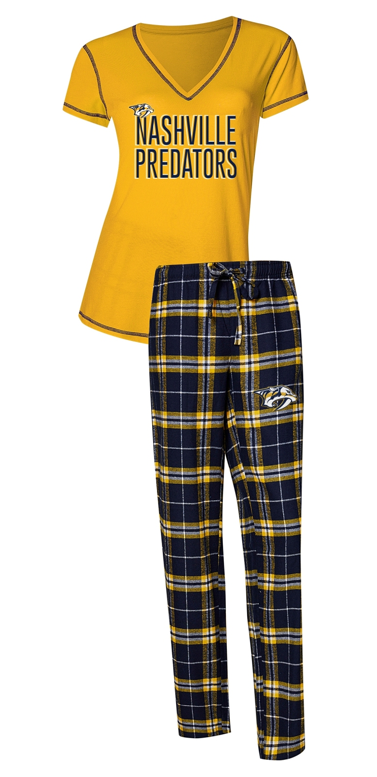 "Nashville Predators NHL ""Super Duo"" Women's T-shirt & Flannel Pants Sleep Set"