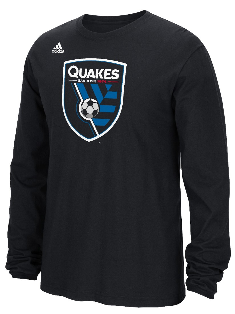 "San Jose Earthquakes Adidas MLS ""Logo Set"" Men's Long Sleeve T-Shirt"