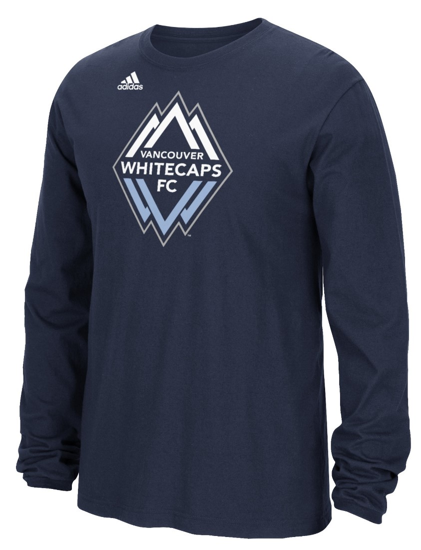 "Vancouver Whitecaps Adidas MLS ""Logo Set"" Men's Long Sleeve T-Shirt"