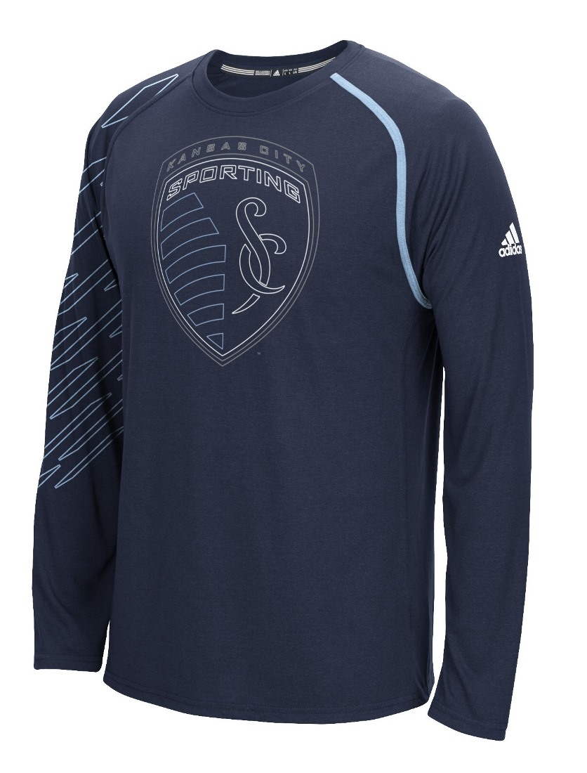 "Sporting Kansas City Adidas MLS ""Frequency"" Performance Long Sleeve Jersey Top"