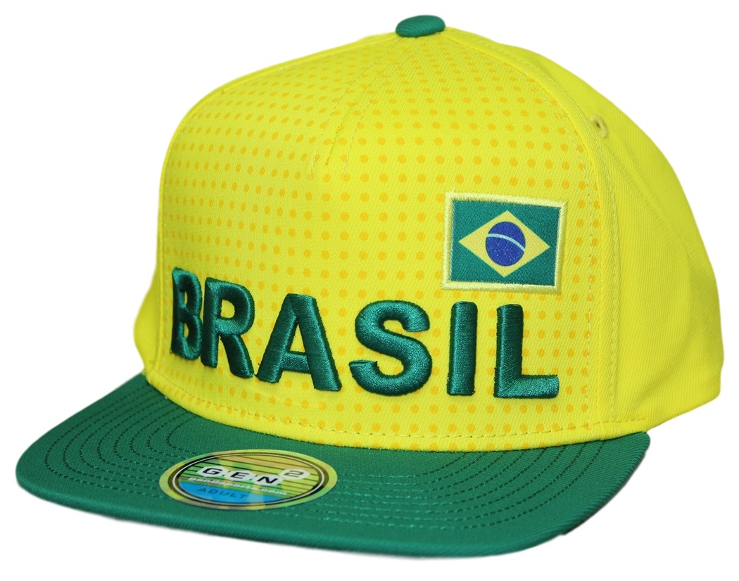 "Team Brazil World Cup Soccer Federation ""Jersey"" Flat Bill Snap Back Hat"