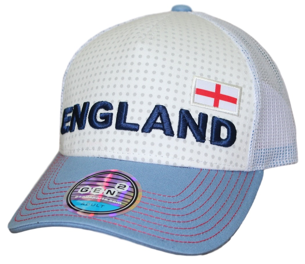 "Team England World Cup Soccer Federation ""Jersey Hook"" Structured Mesh Back Hat"