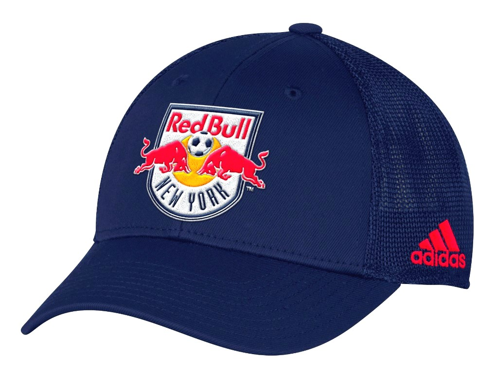 "New York Red Bulls Adidas MLS ""Corner Kick"" Structured Flex Mesh Back Hat"