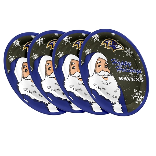 "Baltimore Ravens NFL Holiday 10"" Plastic Plate - 4 Pack"